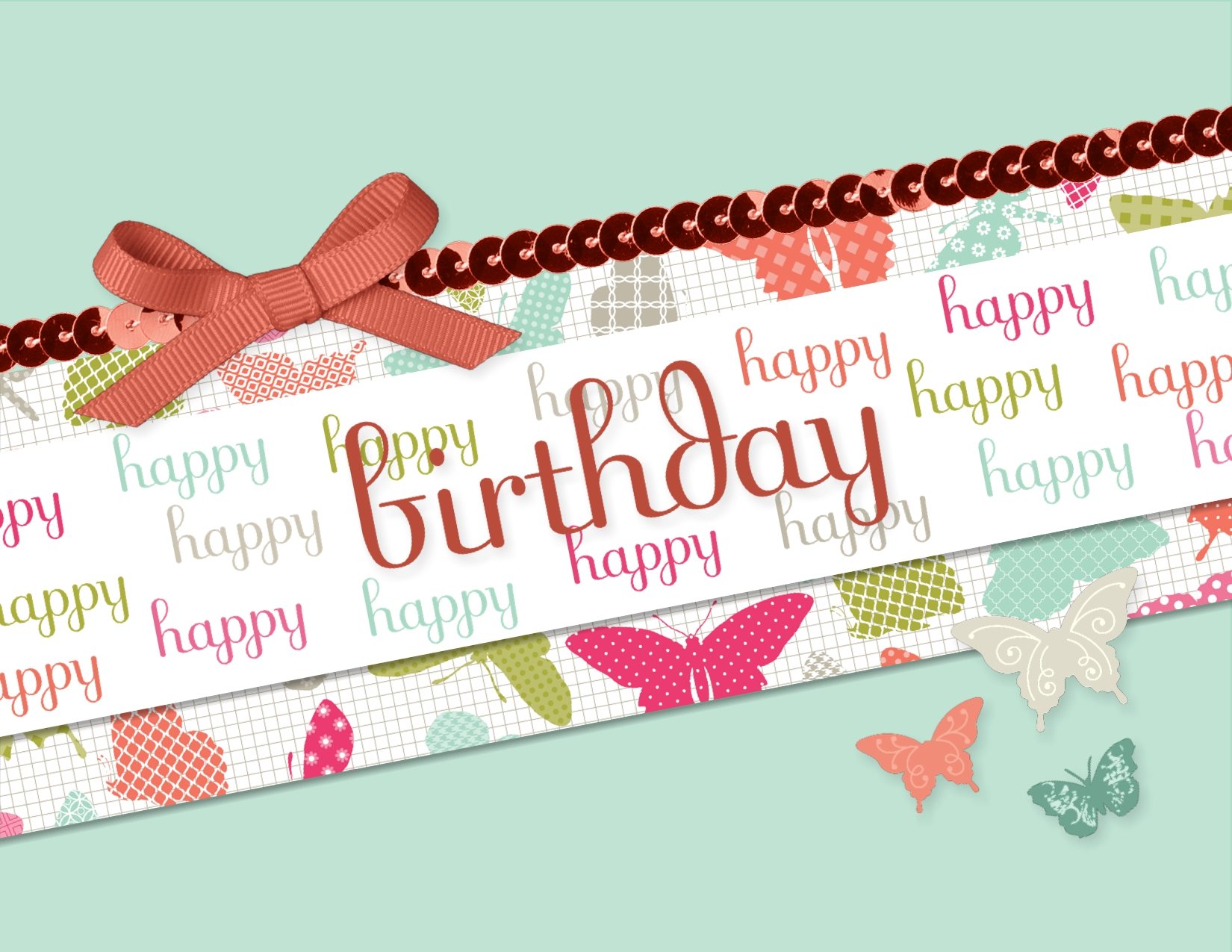 Diagonal digital birthday card using the Fabulous Phrases download