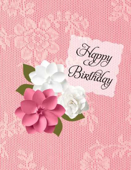 Digital birthday card using a  Natural Composition Overlay
