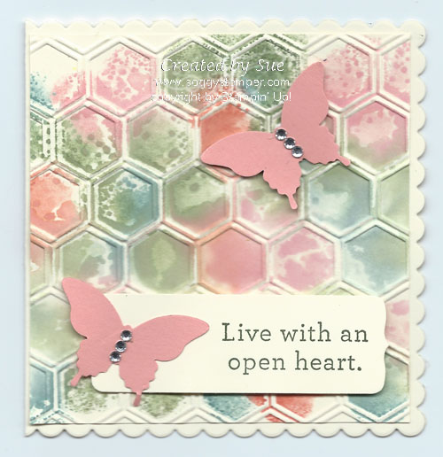 handmade card using the square framelits, elegant butterfly punch and honeycomb embossing folder