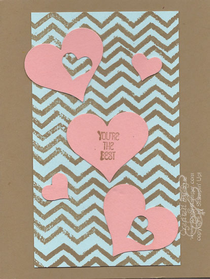 Handmade card using the chevron pattern of the Work of Art stamp set