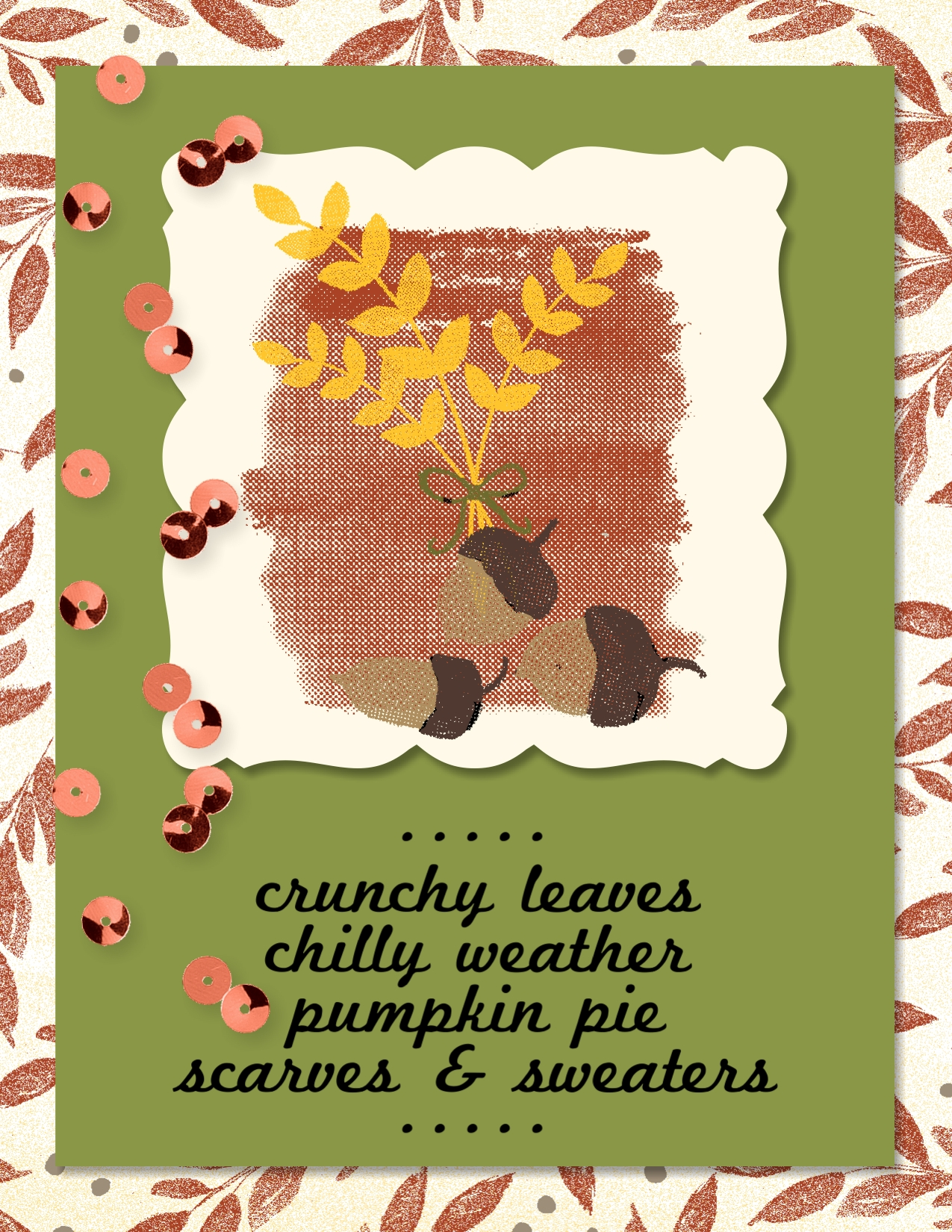 Digital greeting card created with For All Things stamp brush set and Color Me Fall digital designer series paper