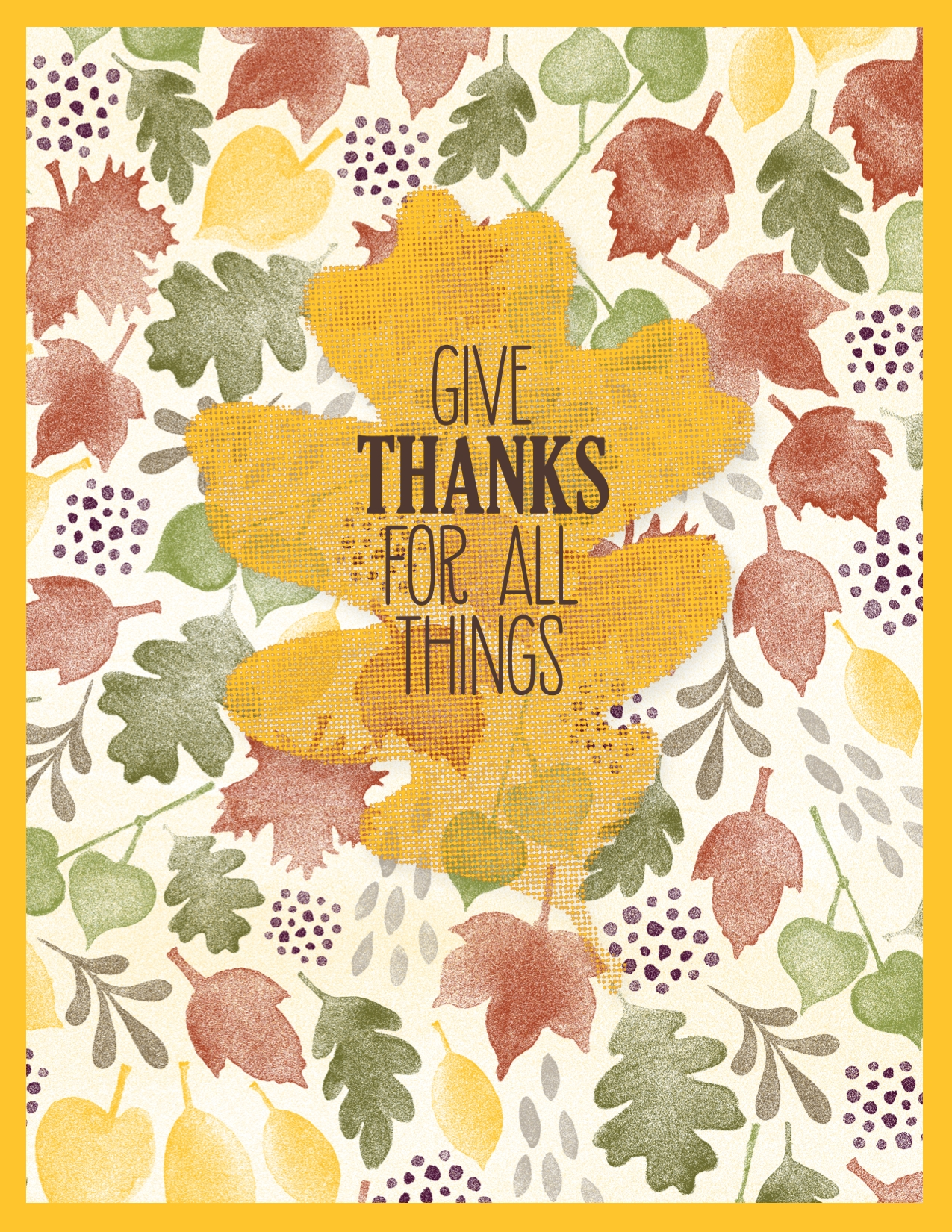 Digital fall card using the For All Things stamp brush set