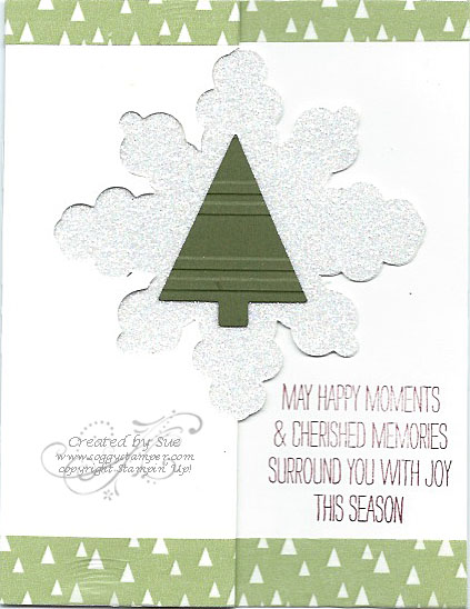Handmade Christmas card created with the Snowflake Card Thinlits Dies and using the tree die