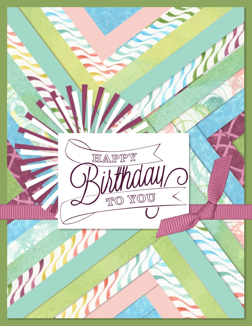 Digital birthday card with a herringbone background using Be Yourself designer series papers