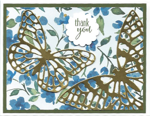 Handstamped Thank You Card using the new Butterflies Thinlits Dies and Painted Blooms Designer Series Paper