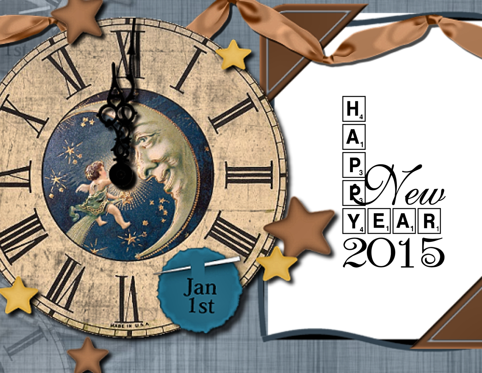 Digital New Year card using free digi downloads from Create with TLC