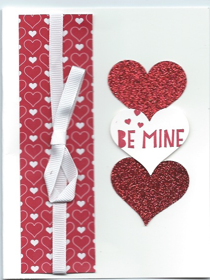 Quick handstamped Valentine using Sweetheart Punch and Stacked with Love Designer Series Paper Stack