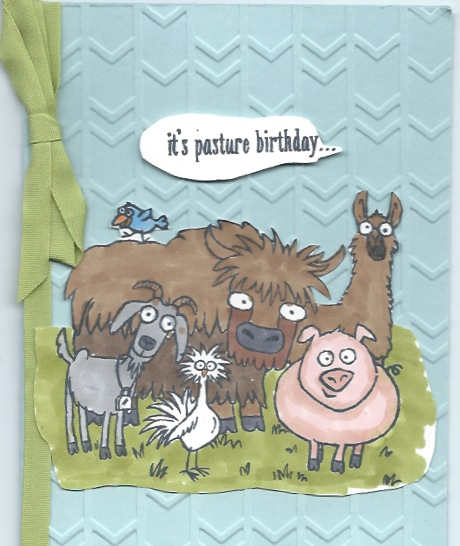 handmade birthday card using the From the Herd stamp set and blendabilities markers