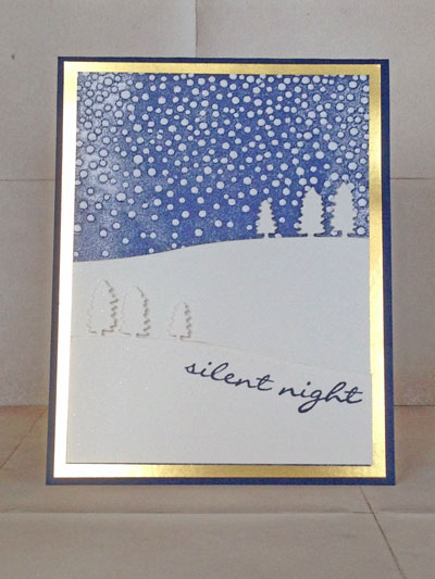 handmade Christmas card using the Sleigh Ride Edgelits and Softly Falling embossing folder