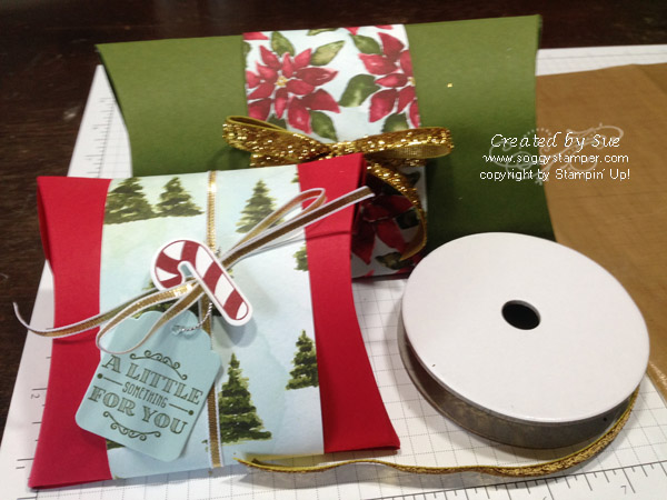 Christmas pillow bozes using Stampin' Up! Square Pillow Box Dies
