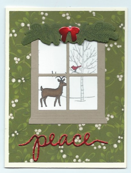 Christmas card created with White Christmas stamp set, Hearth & Home Thinlits dies, and Christmas Greetings Thinlits dies
