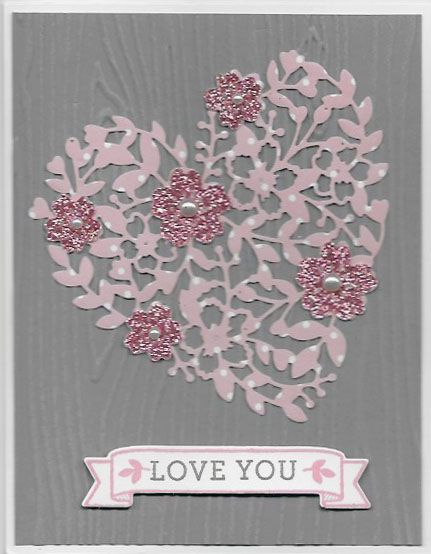 Handmade Valentine card using Bloomin' Heart Thinlits
