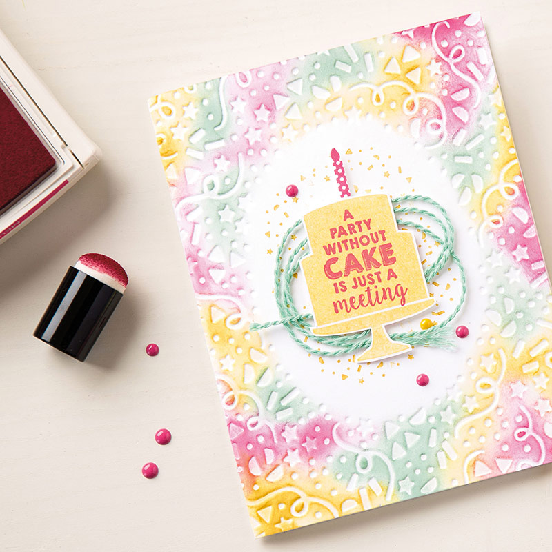 Birthday card created with Party Punch Pack and Confetti Textured Impressions embossing Folder