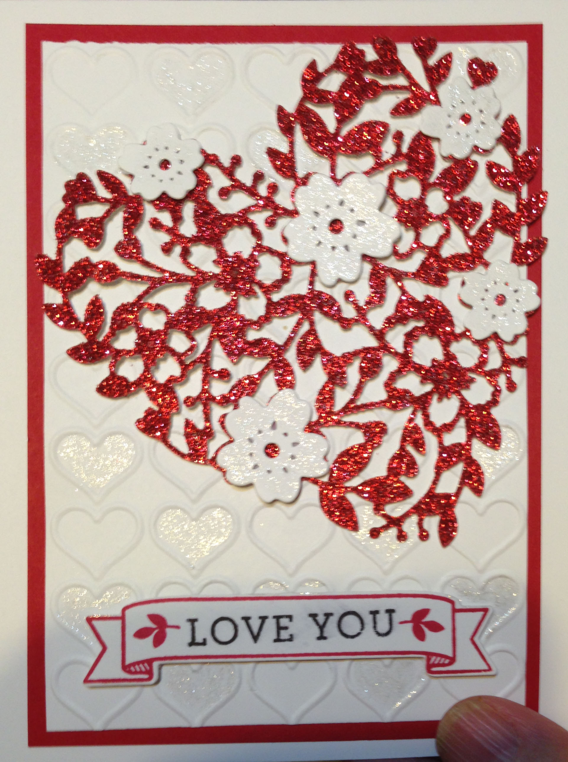 Handmade valentine using Bloomin Heart Thinlits and Clear Wink of Stella