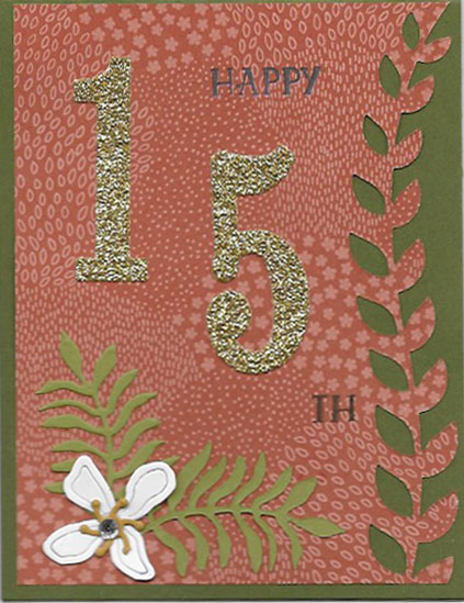 handmade birthday card using the Botanical Builder Framelits and Large Number Framelits