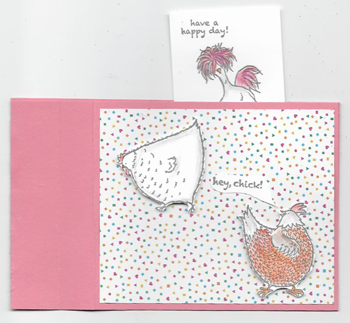 Opened wiper card using Hey, Chick stamp set