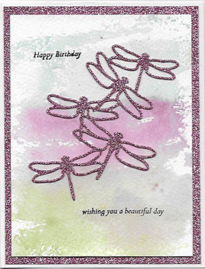 Birthday card created with Detailed Dragonfly Thinlit Dies and Watercolor Wash stamp set