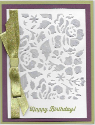 Birthday card using tinted embossing paste and Detailed Floral Thinlits