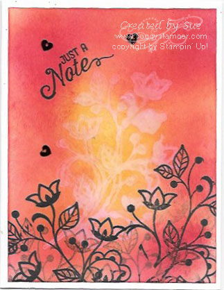 Greeting card using Flourishing Phrases stamp set and sponging