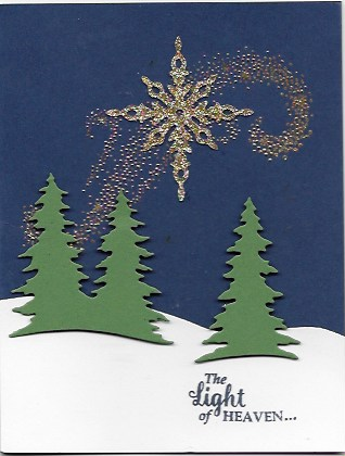 Christmas card created with Card Front Builder Thinlits, Starlight Framelits, and Star of Light stamp set