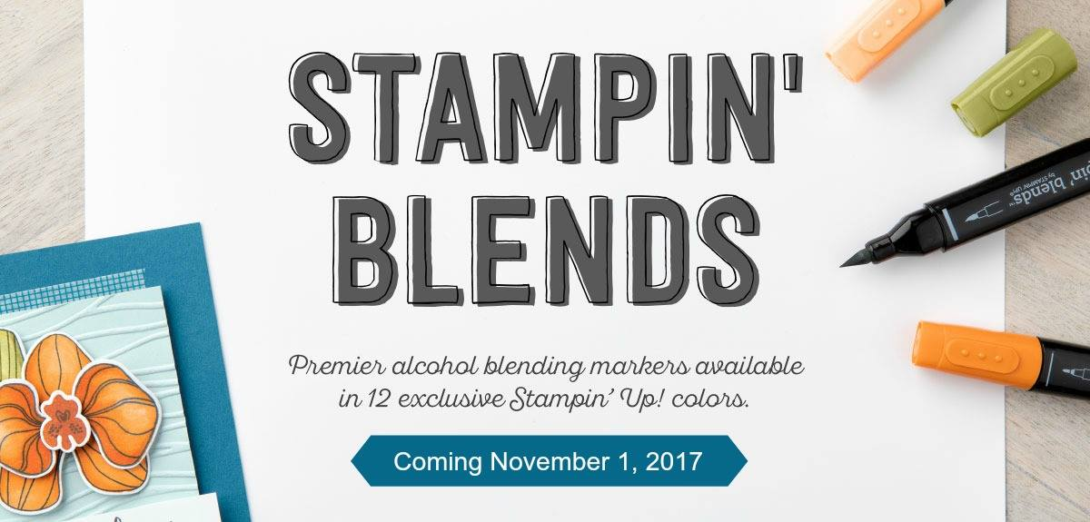 banner for Stampin' Blends with start date