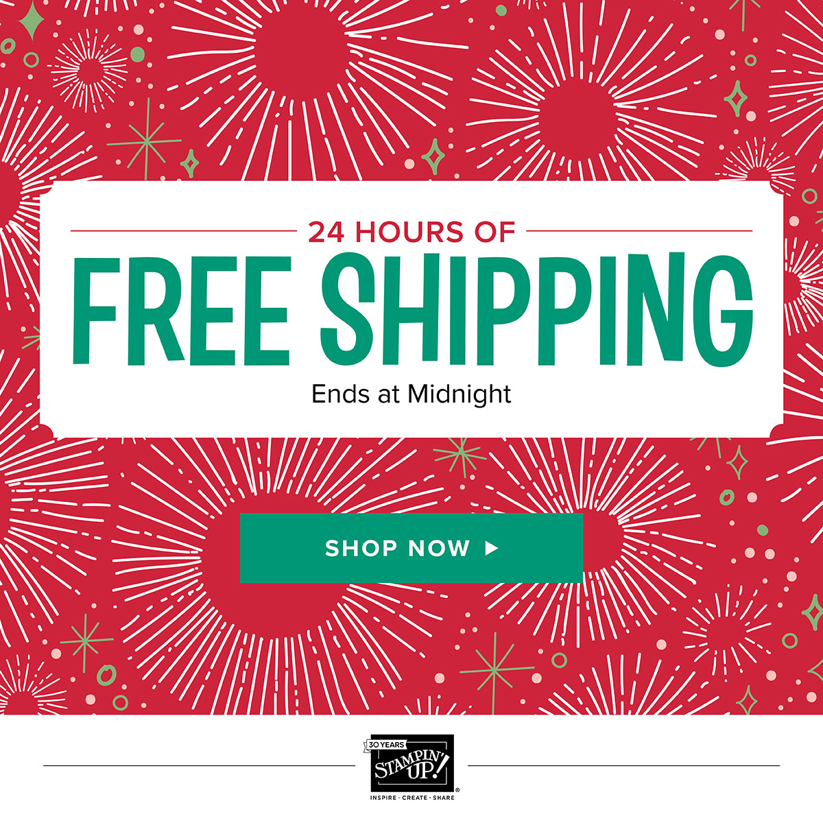 Banner showing Free Stampin' Up! shipping