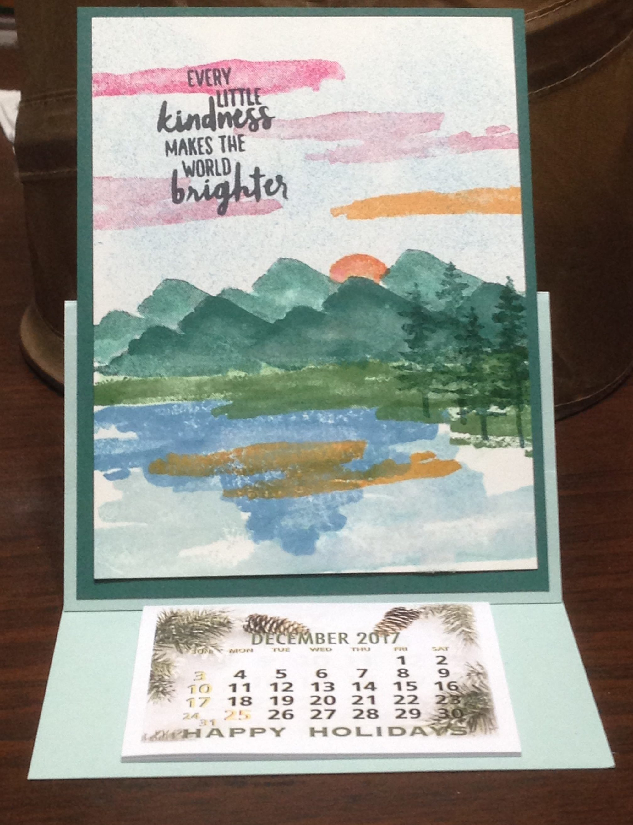 easel calendar card created with Waterfront stamp set